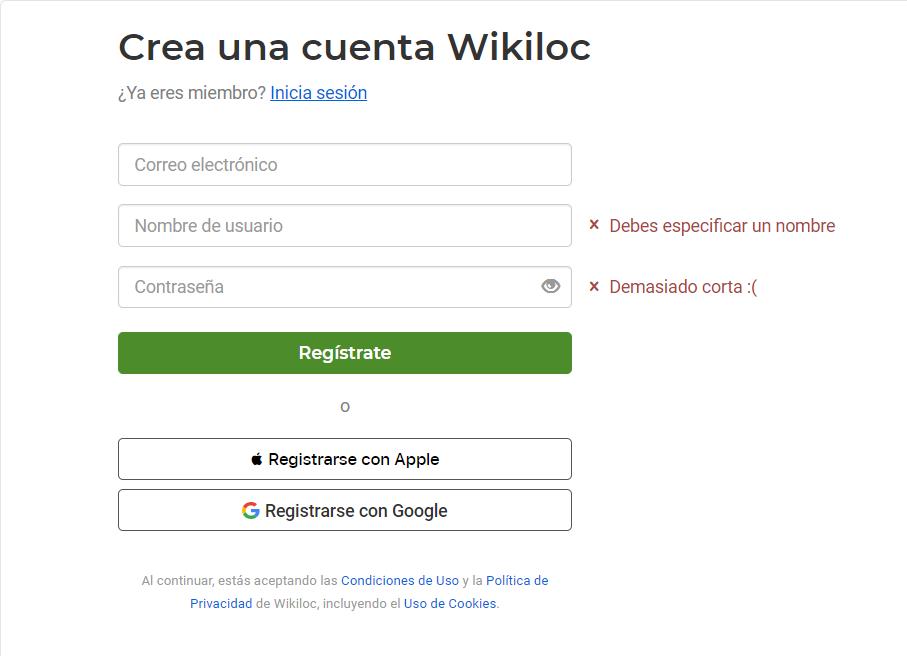 Cómo registrarse como usuario en la app de wikiloc