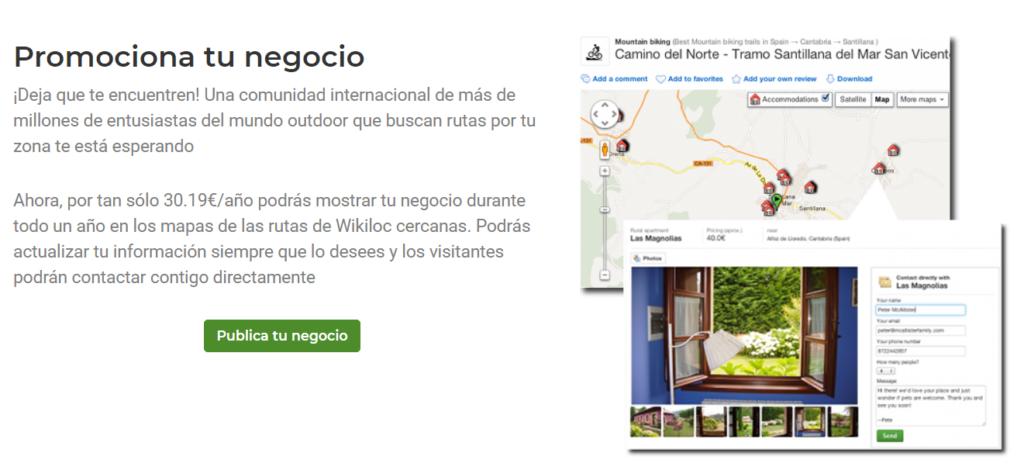 promociona tu negocio en la app de wikiloc